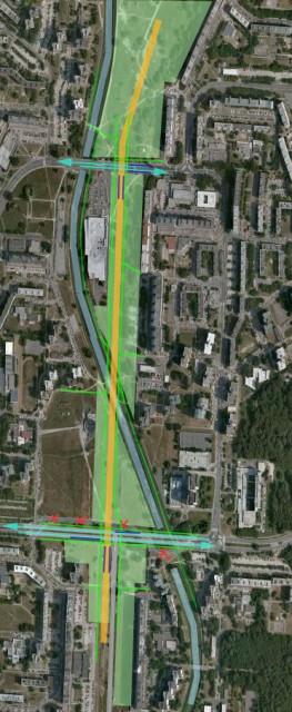 Satelitný záber úseku Pajštúnska - Jiráskova (návrh CK)