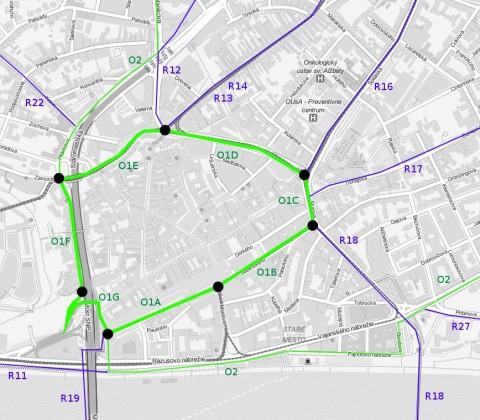 Navrhovaný 1. okruh s jednotlivými úsekmi. Podkladová mapa © OpenStreetMap contributors. Tiles courtesy of MapQuest