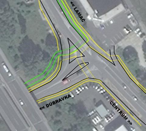 Návrh riešenia východnej časti križovatky pri železničnej stanici Lamač