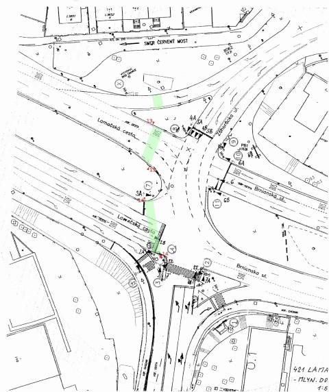 Signálny plán križovatky Patrónka, návrh doplenia nových signálnych skupín 13 a 14 pre cyklistické priechody.