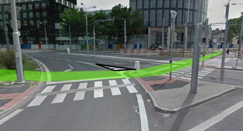 Cyklopriechod Miletičova na prístup bicyklom k OC Centrál. Podkladová fotografia z Google StreetView.