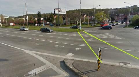 Vizualizácia navrhovanej polohy cyklopriechodu na fotografii z Google StreetView.