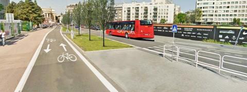 Návrh Cyklokoalície na vedenie cyklotrasy na Pribinovej. Mesto zatiaľ uvažuje s iným, menej komfortným a bezpečným riešením.