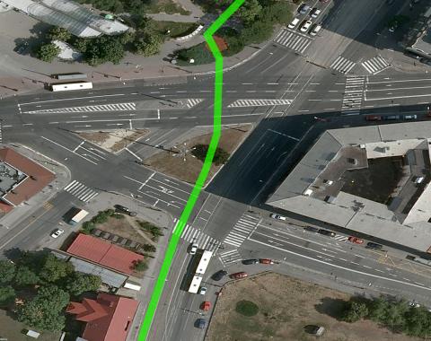 Návrh priechodu pre cyklistov cez Račianske mýto, ktorý je kompatibilný s existujúcim signálnym plánom križovatky