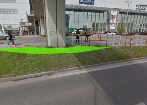 Rozšírenie cyklocestičky v úzkom mieste okolo piliera. Foto z Google StreetView.