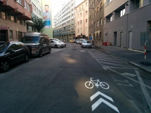 Cykloprotismerka Medená ul, Bratislava